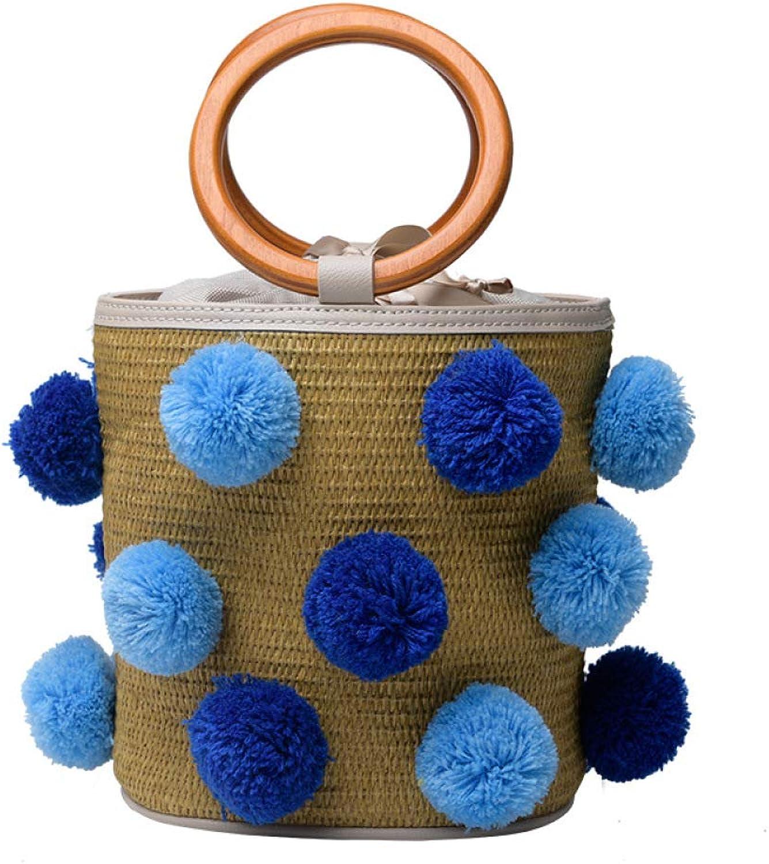 FJTHY FJTHY FJTHY Handtasche Stroh Tasche Mode Haar Ball Eimer Tasche Schultertasche Geschenk Freundin,Blau,Einheitsgröße B07JNQCJV4  Verpackungsvielfalt de1a65