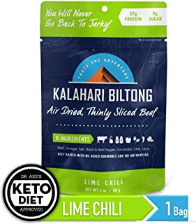 Kalahari Biltong | Air-Dried Thinly Sliced Beef | Lime Chili | 2oz (Pack Of 1) | Sugar Free | Keto & Paleo | Gluten Free | Better Than Jerky
