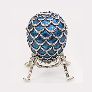 Exquisite Russian Style Egg Pine Cone with The Clock Light Blue, 3.62