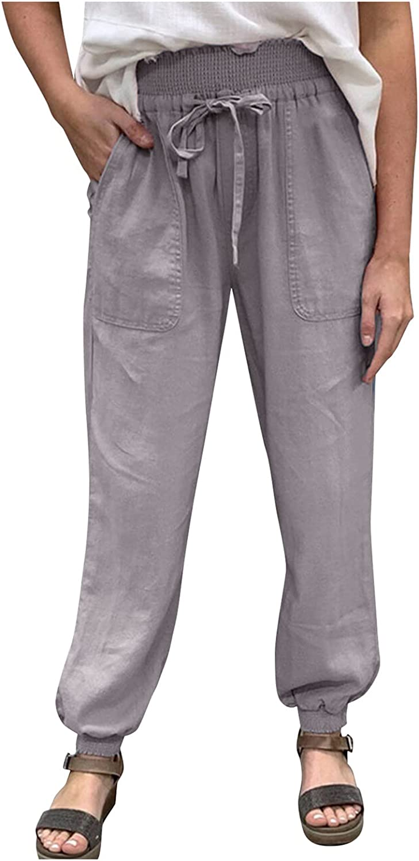 XIEXIEBUY Women's Pants Elastic Waist Loose Casual Pants Wide Leg Cotton Linen Trousers Lounge Pants with Pockets