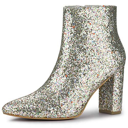 Allegra K Damen Spitze Glitzer Blockabsatz Ankle Boots Stiefel Silber 36