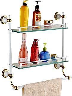 ZHAOHUI 浴室用ラック 強化ガラス 銅 きれいになること容易 ガードレール付き タオル掛け 耐腐食性、 パンチ取り付け、 2色 (色 : ゴールド)