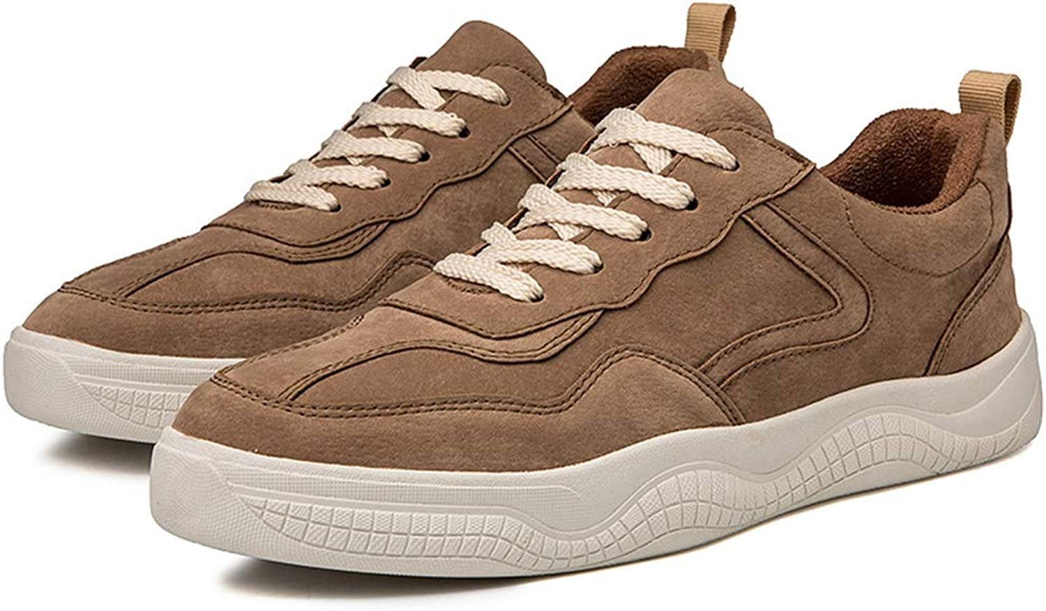 Men's shoes Spring Fall Classic Platform shoes Leisure Academy Lace Up Deck shoes PU Sports shoes Athletic shoes,Brown,43