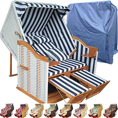 Strandkorb XXL für Balkon blau gestreift inkl. Luxus Strandkorb Schutzhülle - blau gestreift mit weißem Polyrattan und braunem Holz, Form Ostsee Strandkorb