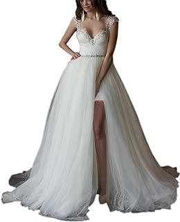 Detachable Train Wedding Dress Lace Wedding Dresses