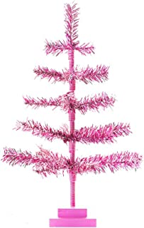 Pink Christmas Tree Retro Style Pink Feather Branches Made of Artificial Tinsel Brush Tree Table-Top Centerpiece Home Wedding Valentine's Day Easter Decoration 24IN - 2FT Height