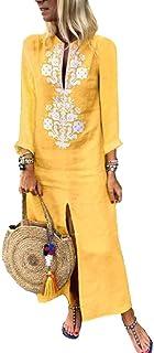 Buildhigh-women clothes Vestido de Lino y algodón para Mujer con Tiras en la Parte Delantera
