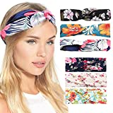 NAOMI REID 6 Pack Headbands for Women Wide Knot Boho Floal Style Criss Cross Tiara Elastic Hair Bands Red Blue Pink White Hair Accessories for Spa, Work, Athletics