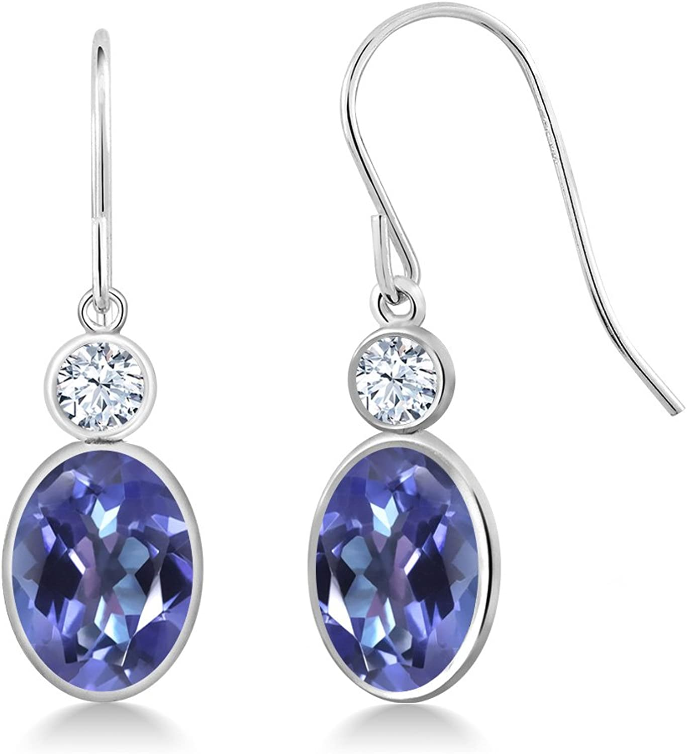 3.42 Ct Oval Purple bluee Mystic Topaz 14K White gold Earrings