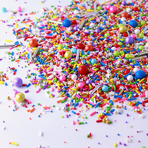 Rainbow Road Sprinkle Mix | Red | Orange | Yellow | Green | Blue | Pink | Purple | Gold and Silver | Little Boy | Birthdays | Princess Parties Sprinkles, 8OZ