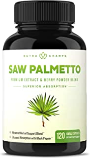 Saw Palmetto Supplement for Prostate Health [Extra Strength] 600mg Extract, Berry Powder & Herbal Complex - Supports Healthy Urination Frequency, DHT Blocker & Hair Loss Prevention - 120 Capsules