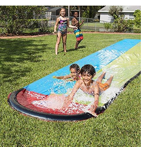 Rasen Wasserrutschen für Kinder Hinterhof Wasserrutsche, Länge 480 cm Breite 140 cm mit Spritzsprinkler und aufblasbarem Crash Pad für Kinder Sommer Hinterhof Schwimmbad Spiele Outdoor Wasse