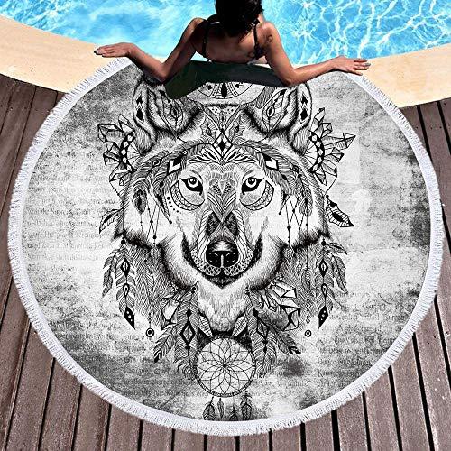 XIAOHUKK Toalla de Playa Redonda con impresión 3D de Lobo Gris de Monternet, cojín de Yoga portátil para Viajes en la Playa, Toalla de Playa con protección Solar de Secado rápido