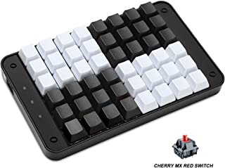 Koolertron Single-Handed Programmable Mechanical Keyboard with Cherry MX Red Switch,All 48 Programmable Keys Tools Keypad,8 Macro Keys, PBT Keycaps.[SMKD72-A]