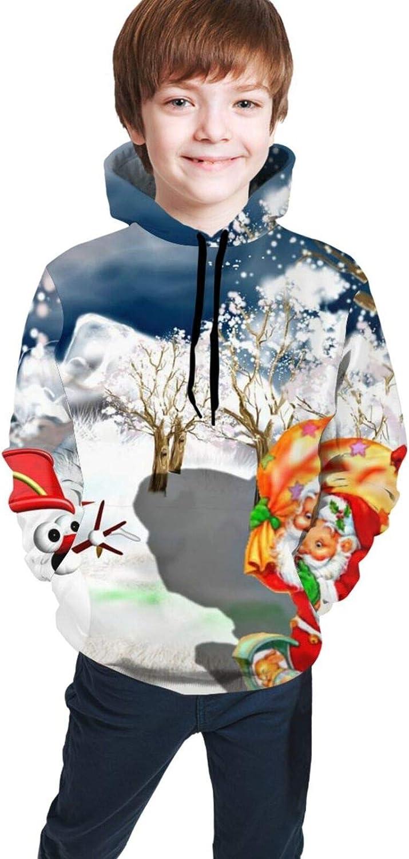 LINCHENC Boys Girls Hoodie, Christmas Scene Unisex 3D Printing Teenager Sweatshirt Kids Children's Sweater with Pocket for Age 7-20 Black