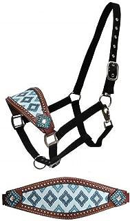 Showman Brown and Teal Navajo Diamond Print Horse Bronc Halter