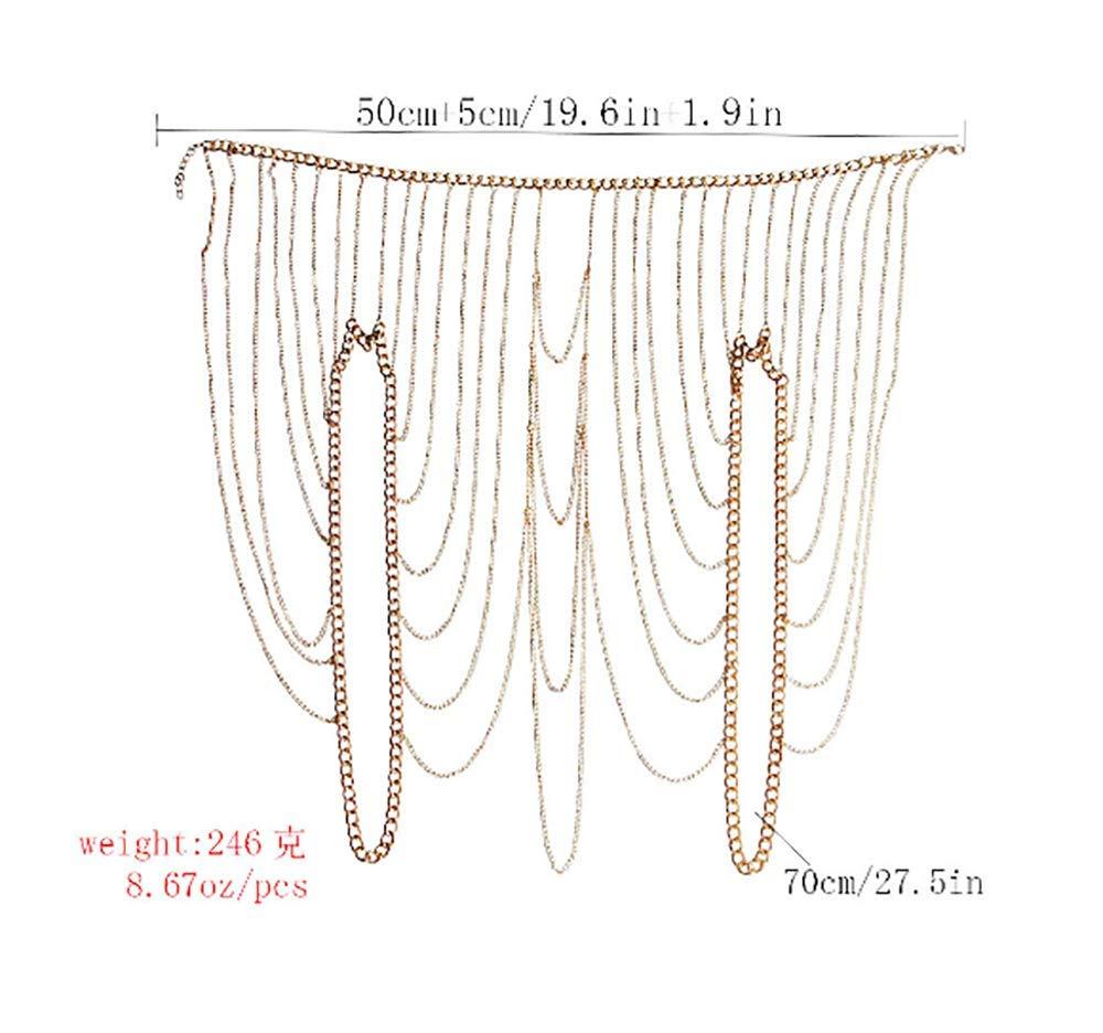 Deniferymakeup Sexy Carnival Boho Chain Tassel Multi-layer Shoulder Chain Body Accessories (Gold)