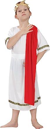 Fancy Me Ragazze o Ragazzi Bianco Rosso Toga Romana Scuola Costume Travestimento 4-14 Anni - Ragazzi, 10-12 Years