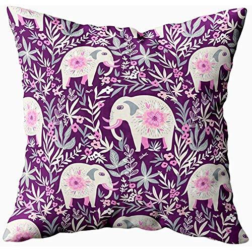 July kussenslopen, kussenslopen olifant op tropische achtergrond van de jungle stof Boho