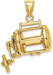 gold fishing reel pendant