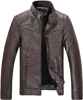 Men's Autumn Winter Warm Solid Imitation Leather Coat Vintage Zipper Stand Collar Outerwear Jackets