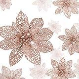 WILLBOND 36 Piezas Flores de Pascua Brillantes de Navidad Flores Artificiales Adornos de Año Nuevo de Árbol de Navidad de Boda con Brillo (Oro Rosa)