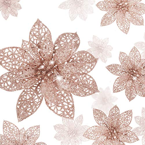 WILLBOND 36 Pieces Christmas Glitter Poinsettia Flowers Artificial Flowers Wedding Glitter Christmas Tree New Year Ornaments (Rose Gold)