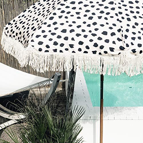 Sonnenschirm Summer Beach Umbrella Leoprint schwarz-weiß mit weißen Fransen Ø 2m - SirHenry´s