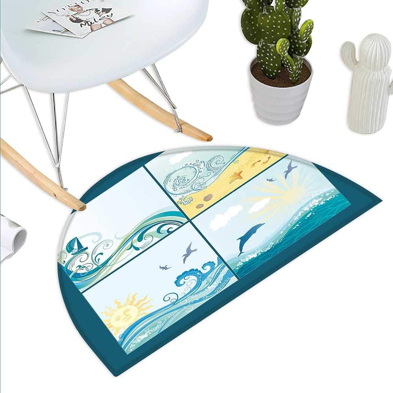 Beach Semicircle Doormat Maritime Themed Frames with Waves Sun Trees Dolphins Birds Exotic Sea Pattern Halfmoon doormats H 39.3  xD 59  bluee Beige Green