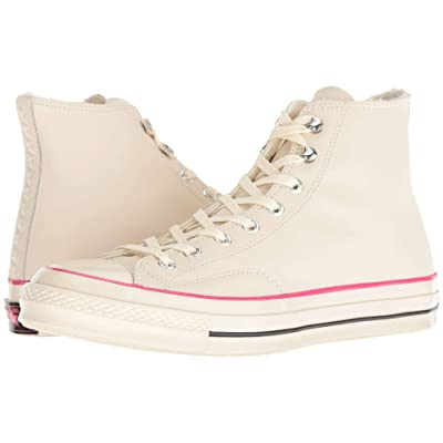 Converse Chuck 70 Leather Hi (Natural Ivory/Pink Pop/Black) Lace up casual Shoes