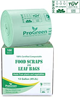 ProGreen 100% Compostable Bags 13 Gallon, 100 Count, Extra Thick 0.87 Mil, Tall Kitchen Compost Trash Bags, Food Scrap Yard Waste Bags, Compost ASTM D6400 BPI and TUV AUSTRIA Certified