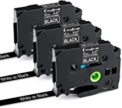 "Greateam Compatible Label Tape Replacement for TZe Black Tape 12mm 0.47"" P-Touch Brother Label Tape TZe-335 White on Black, for Brother Label Maker PT-H110 PT-D210 PT-1290 PT-D400 PT-D600, 3-Pack"