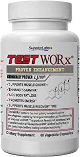 Superior Labs TEST WORx Natural Testosterone Booster With Clinically Proven LJ100 and 8 Other Powerful Ingredients Delivers A Noticeable Increase In Energy, Stamina, Recovery and Better Sleep and Mood