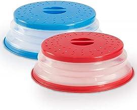 Aestm - 2 tapas plegables para microondas con colador para frutas y verduras, libre de BAP, no tóxico (azul y rojo)