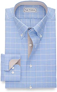 Paul Fredrick Men's Non-Iron Cotton Glen Plaid Button Down Collar Dress Shirt