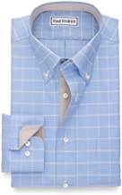 Paul Fredrick Men's Non-Iron Cotton Glen Plaid Button Down Collar Dress Shirt