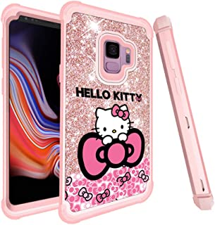 GSPSTORE for Samsung Galaxy S9 Plus Case Hello Kitty Cartoon Glitter Sparkle Bling Full-Body Heavy Duty Armor Defender Shockproof for Samsung Galaxy S9 Plus (Pink)