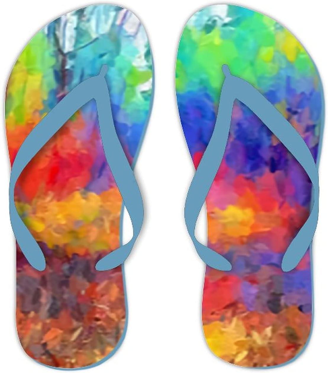 UTF4C Summer Flip Flops for Men Women Art Color Background Soft Lightweight Non Slip Sandals for Shower Beach Pool Bathroom Flat 7.5