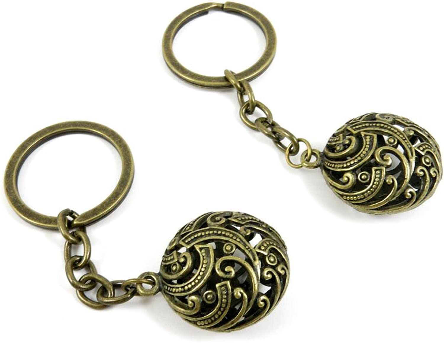 50 Pieces Fashion Jewelry Keyring Keychain Door Car Key Tag Ring Chain Supplier Supply Wholesale Bulk Lots F1YQ5 Hollow Ball
