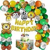 weeyin Jungle Décorations Anniversaire Garcon,Jungle Ballon Anniversaire Fête Avec Bannière Joyeux Safari Ballons,Deco Anniversaire Jungle Ballons Animaux pour Bebe Anniversaire Jungle Réutilisable