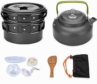 9Pcs Cookware Set Outdoor Camping Cooking Kit Portable Nonstick Lightweight Pans Cook Set with Bag