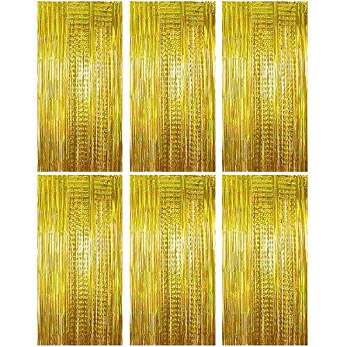Queta Lametta Vorhänge Dekoration (1m*2m) 6 Stük Folie Vorhang Metallic Vorhänge Folien Glitzervorhang für Geburtstag Partys Hochzeit Fotohintergrund Bühne und Weihnachten usw. (Gold)