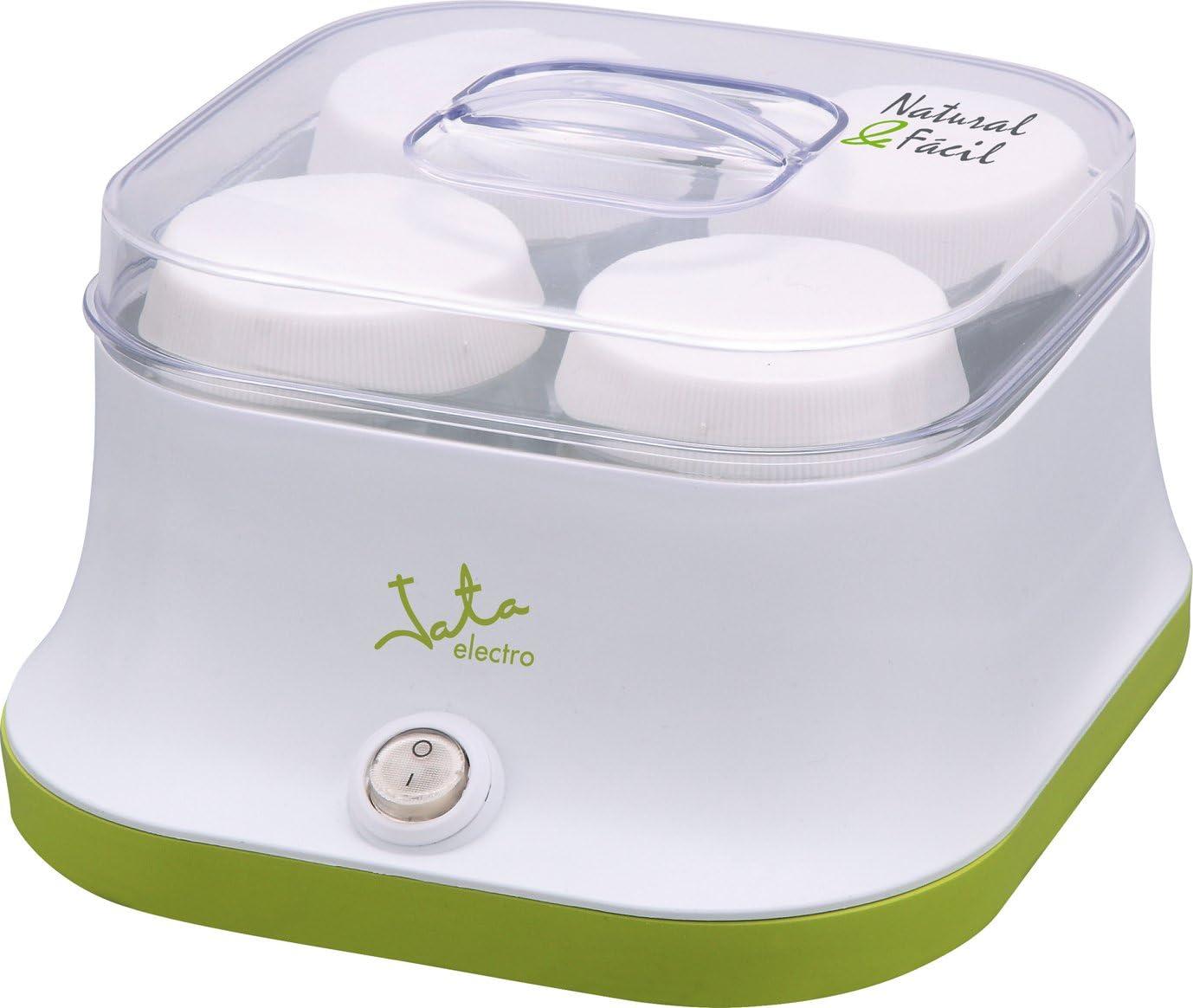 Jata YG523 Yogurtera para 4 Yogures sin Conservantes ni Aditivos Incluye 4 Vasos de Cristal de 150 ml Recetas Incluidas Prepara Yogures Caseros Rápido y Fácil