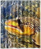 Shower Curtain 60'x72' Inches Brook Trout Fly Fishing New Waterproof Polyester...
