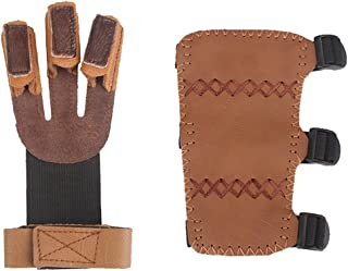 Kratarc Adult Youth Leather 3-Strap Arm Guard & Gloves Protector, Hunting Shooting Arrow Bow Gear Accessories, Archery Arm Finger Protector