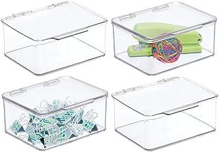 mDesign organiseur bureau pour ranger stylos, bloc-notes, etc. (lot de 4) – boite de rangement en plastique sans BPA – boi...