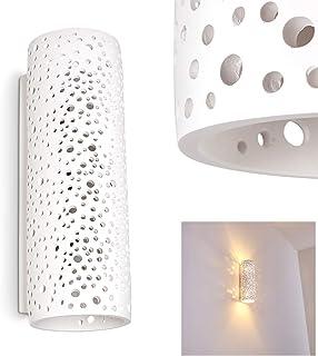 Aplique Jabiru de cerámica en blanco, 2 x E14, máx 40 vatios, en colores estándar, efecto de luz Up & Down con agujeros ideal para pasillos y sala de estar