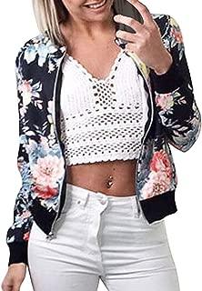 Women's Zip Up Bomber Jacket, Stylish Crew Neck Long Sleeve Floral Print Slim Fit Pullover Sweatshirt Coat