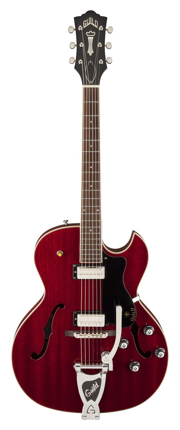 Cheap Guild Starfire III with Guild Vibrato Tailpiece Hollow Body Electric Guitar with Case (Cherry Red) Black Friday & Cyber Monday 2019