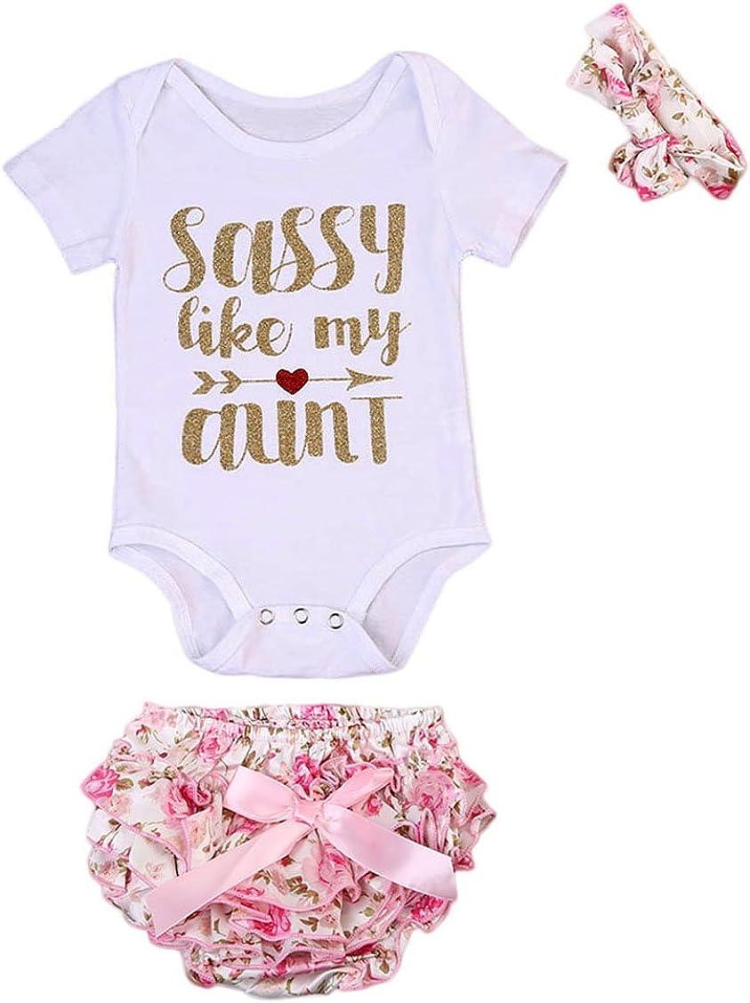Newborn Baby Girls Outlet SALE Sassy Romper+Floral Pcs Memphis Mall Shorts+Headband Clo 3